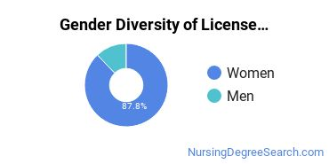 Licensed Practical Nursing Majors in MA Gender Diversity Statistics